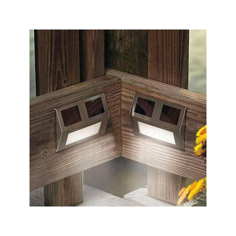 Novelty Outdoor Solar Powered 2-LED Stairways Step Light LED Landscape Garden Light Wall Light Lamp - 2 pcs/set