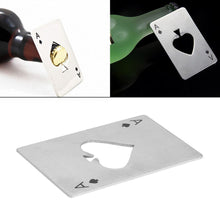 Load image into Gallery viewer, Stainless Steel Casino Poker Playing Credit Card Bottle Opener