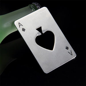 Stainless Steel Casino Poker Playing Credit Card Bottle Opener