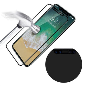 Screen Protector 9H Hardness Front Back Tempered 5D for iPhone X (Black)