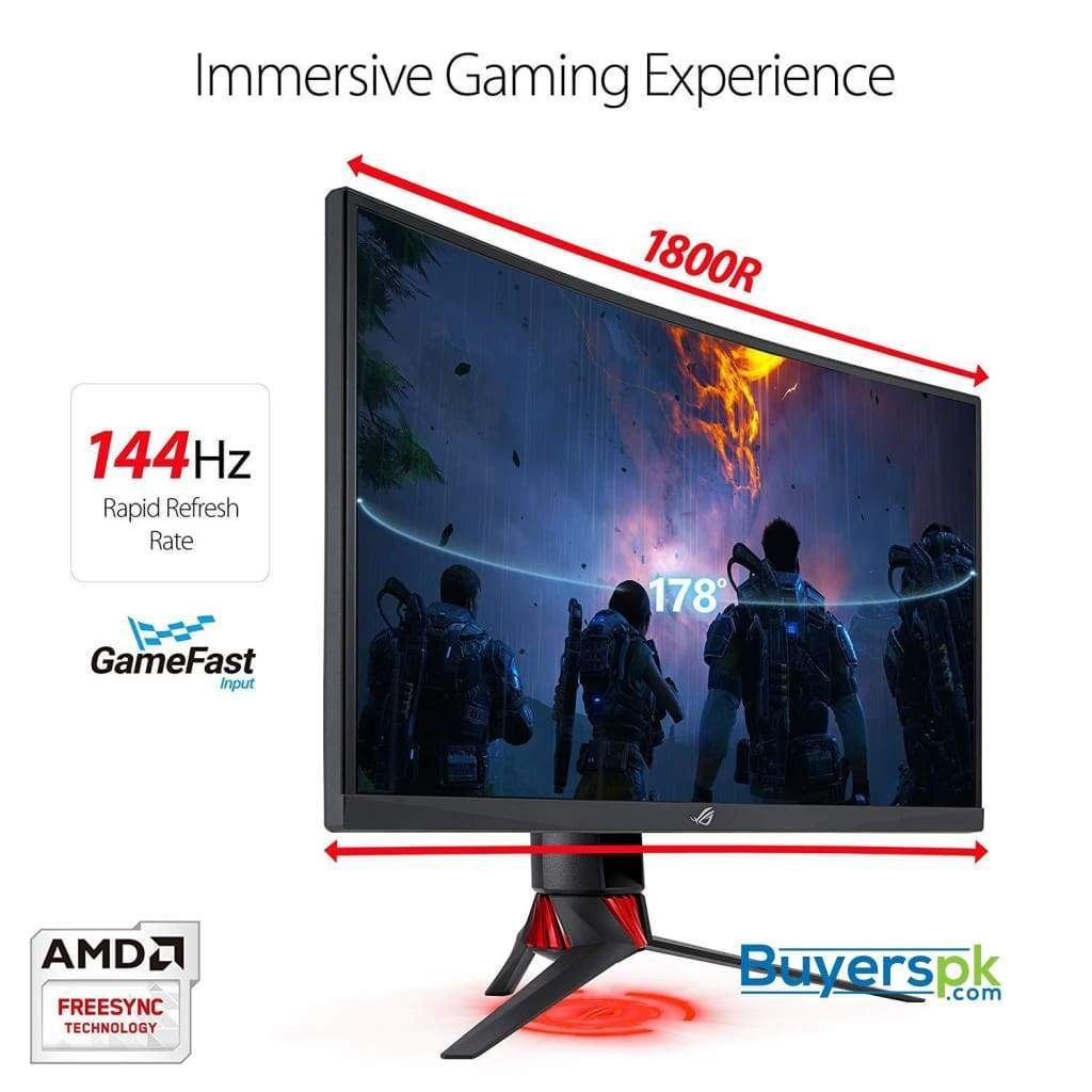 "Asus Rog Strix 27"" Curved Gaming Monitor full Hd 1080p 144hz Dp Hdmi Dvi Fully Adjustable Function"