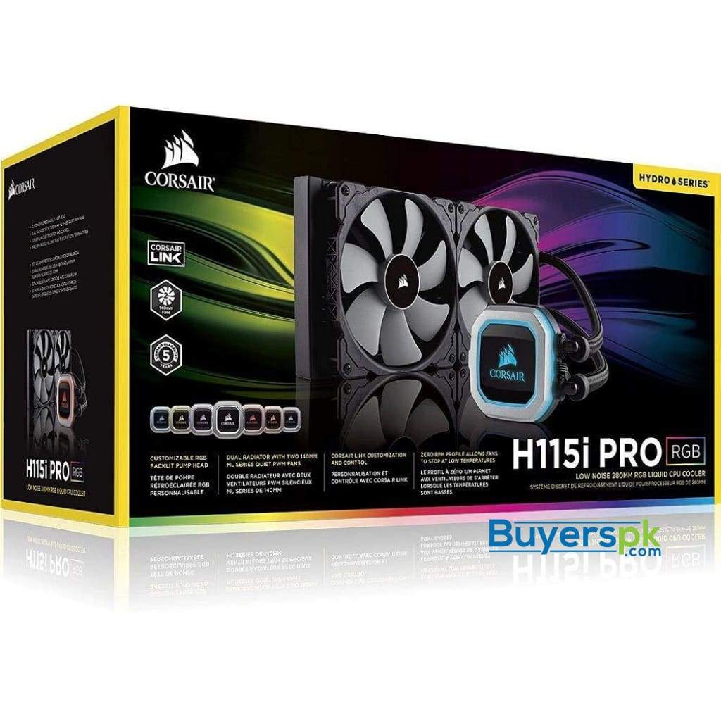 Corsair Hydro Series H115i Pro Rgb Aio Liquid Cpu Cooler,280mm, Dual Ml140 Pwm Fans, Intel