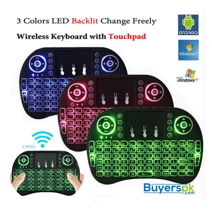 MINI TOUCH PAD RF 500 WIRELESS WITH 3 COLOUR BACKLIGHT KEYBOARD MOUSE - Keyboard