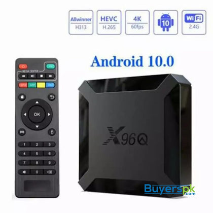 Smart Box X96q Mini Quad Core 2g+16g 4k 60fps Andriod 10v - Android TV Price in Pakistan