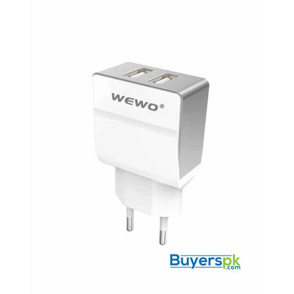 Wewo W004 Dual USB 2.4A Travel Charger - White - Charger