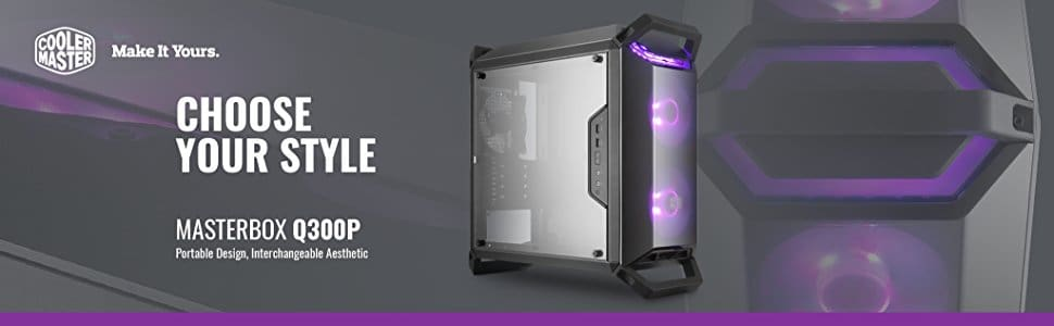 Cooler Master Chassis Masterbox Q300P mATX Case w/ 2 RGB Fans RGB Controller & Splitter 4 Handles Transparent Acrylic Side Panel