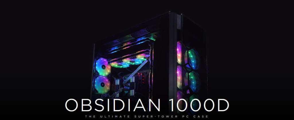 CORSAIR OBSIDIAN 1000D Super-Tower Case Smoked Tempered Glass Aluminum Trim - Integrated COMMANDER PRO fan and lighting controller