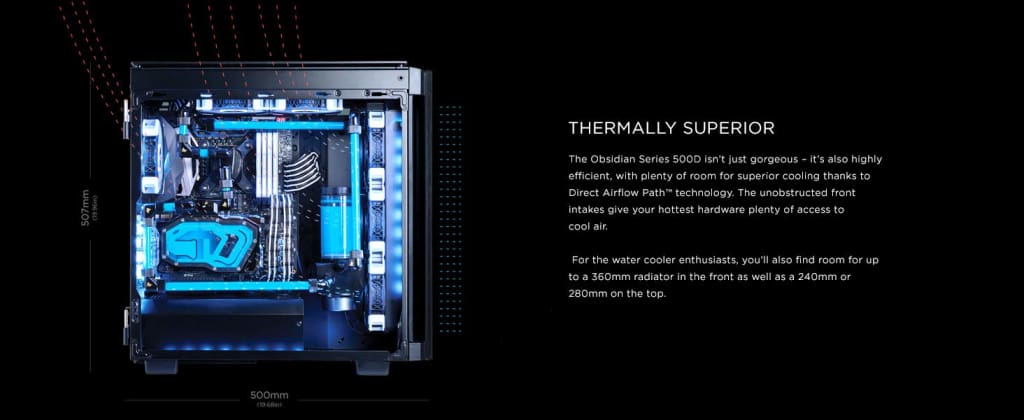CORSAIR Obsidian 500D Mid-Tower Case Smoked Tempered Glass Aluminum Trim