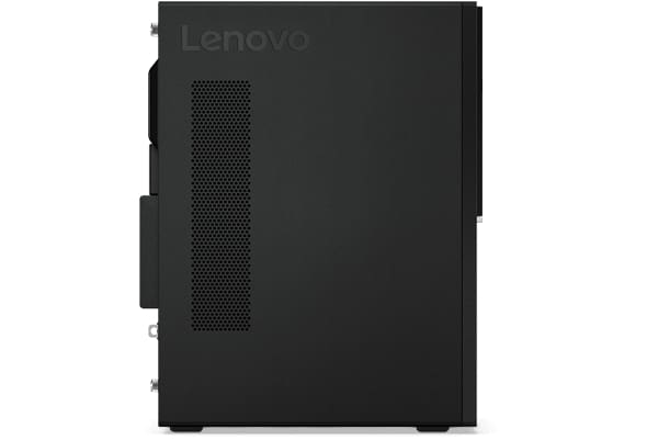 Lenovo V520 tower PC, side view, positioned vertically.