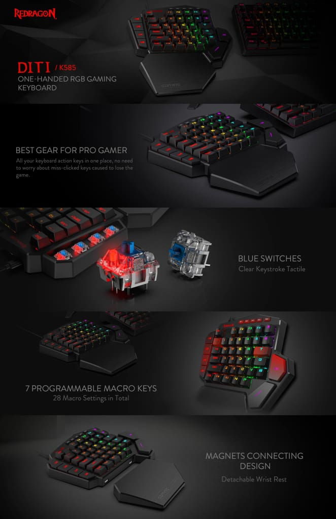 Redragon K585 DITI One-Handed RGB Mechanical Gaming Keyboard Blue Switches Professional Gaming Keypad with 7 Onboard Macro Keys Detachable