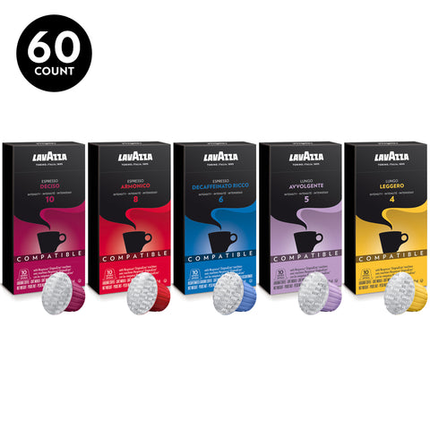 Lavazza Nespresso Coffee OriginalLine Compatible Capsules Variety Pack (Pack of 60)
