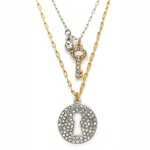 Gold & Silver Plated 2pc. Crystal Engraved Necklace Set