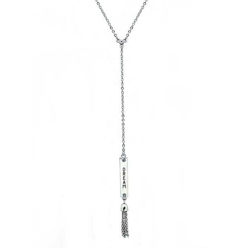 Angelina Crystal Engraved Vertical Bar Necklace