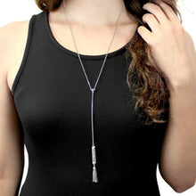 Load image into Gallery viewer, Angelina Crystal Engraved Vertical Bar Necklace