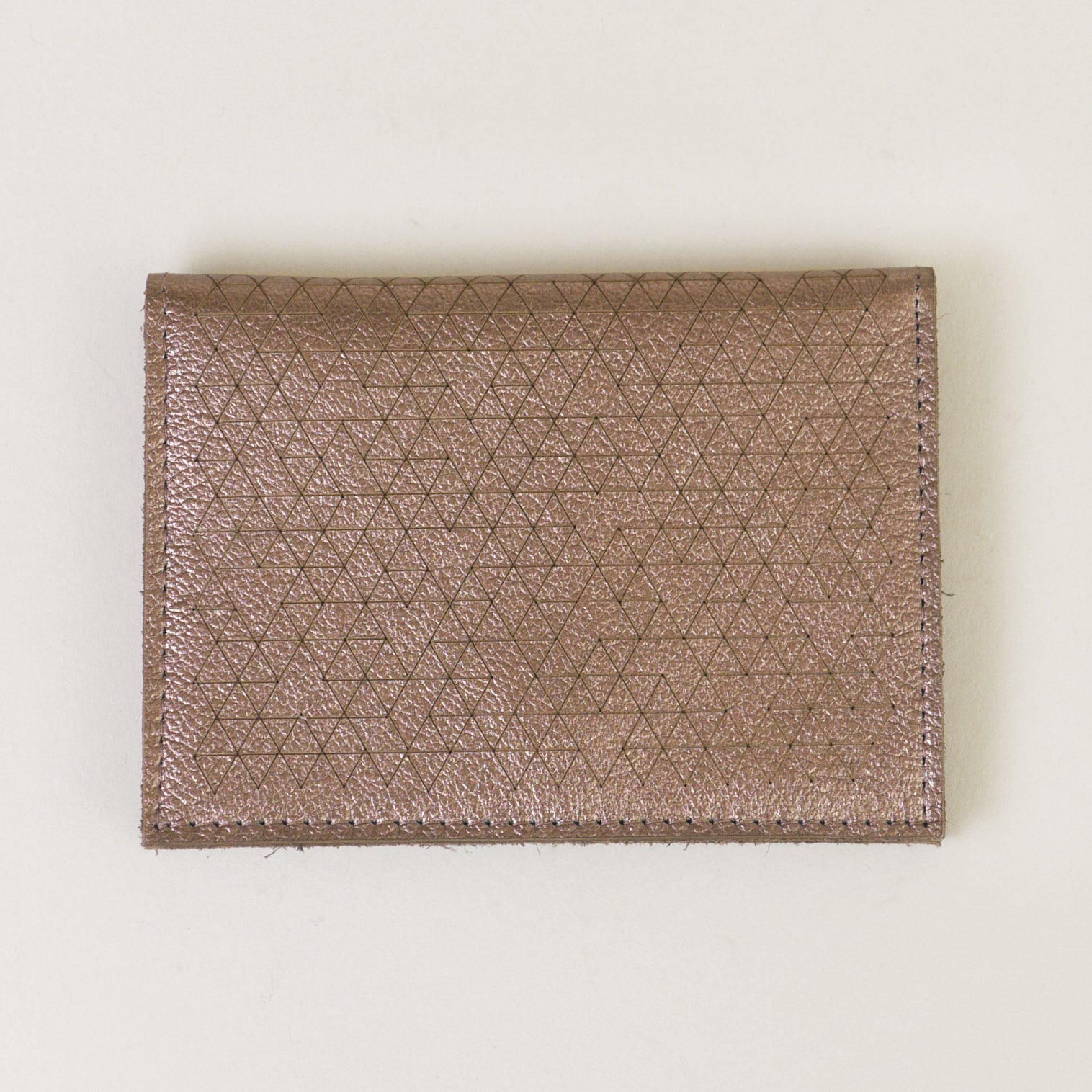 Laser-cut Leather Card Wallet - Shiny Copper
