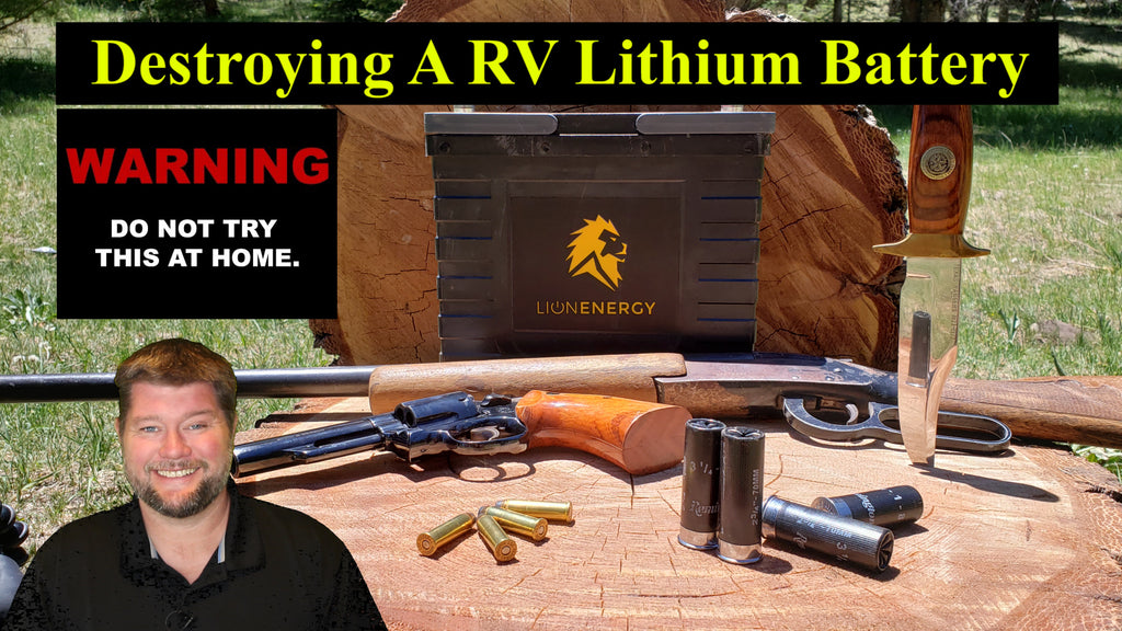 Destroying A RV Lithium Battery - Fire Safety Check - Shotgun VS Lion Energy Safary UT 1300