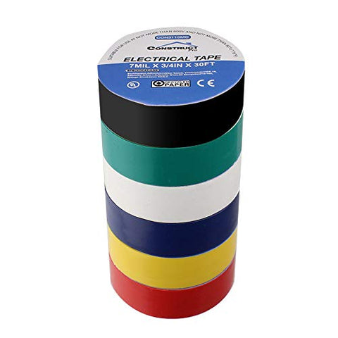 Construct Pro 3/4in x 30ft UL-Listed Electrical Tape, 6 Pack (Multi-Color)