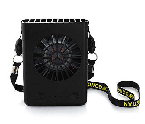 CestMall 3 Speeds Portable Multi-functional Mini Rechargeable Fan Powered by 18650 Li-ion Battery (included) & USB Charging (PLS Avoid Overcharging) for Outdoor Travel with String (Black)