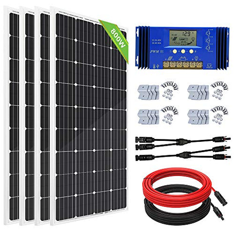 ECO-WORTHY 800 Watts Solar Panel Off Grid RV Boat Kit: 4pcs 195W Solar Panels + 60A PWM Charger Controller + 16Ft Solar Cable + Z Mounting Brackets