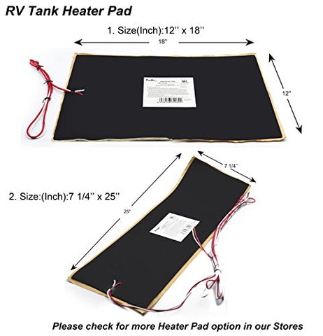 Pack of 2 Facon 12 x 18 Holding Tank Heater Pad for RV Camper Trailer with Automatic Thermostat Control