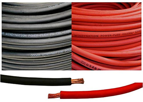 2 Gauge 2 AWG 5 Feet Black + 5 Feet Red (10 Feet Total) Welding Battery Pure Copper Flexible Cable Wire - Car, Inverter, RV, Solar by WindyNation