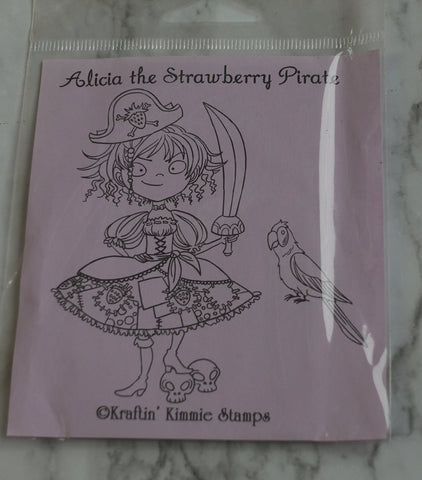 Alicia the Strawberry Pirate Stamp, Kraftin' Kimmie Stamps
