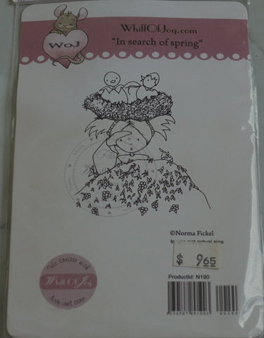 In Search of Spring Rubber Stamp, Design by Norma Fickel, Whiff of Joy Rubber Stamps