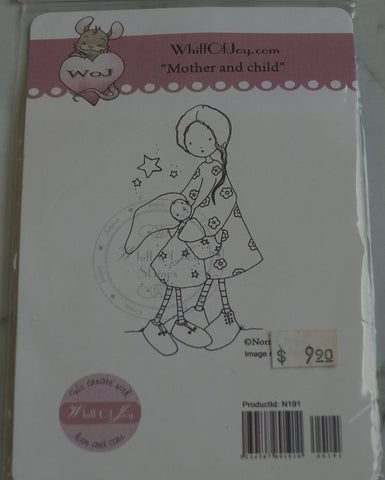 Mother and Child Rubber Stamp, Design by Norma Fickel, Whiff of Joy Rubber Stamps