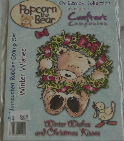 Winter Wishes, Popcorn the Bear Rubber Stamp Set by Crafter's Companion