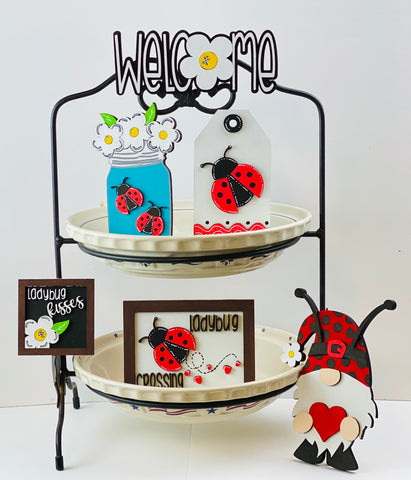 Ladybug Gnome and Decor Tier Tray Items (6 Items) Tiered tray decor, tiered tray bundle, farmhouse decor