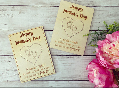 Mother's Day Wooden Card with a Punch Out Keepsake