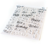 Layered Script Words Stamp Set, Pinkfresh Studio