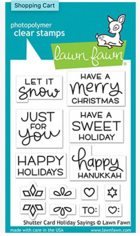 Shutter Card Holiday Sayings Stamp Set, Lawn Fawn