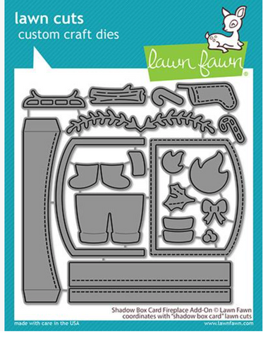 Shadow Box Card Fireplace Add-On Dies, Lawn Fawn