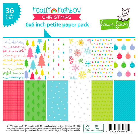 Really Rainbow Christmas Petite Paper Pack, Lawn Fawn