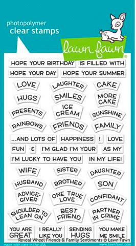 Reveal Wheel Friends & Family Sentiments Stamp Set, Lawn Fawn
