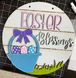 Easter Blessings Round Sign