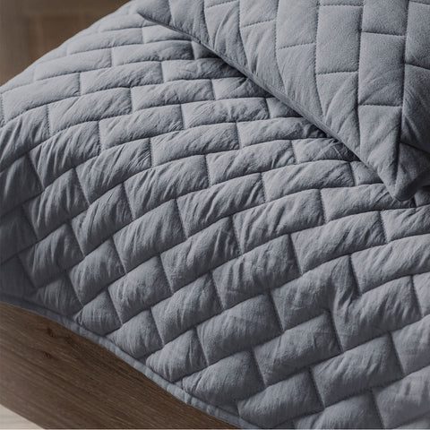 Bricks Quilted Grey Throw