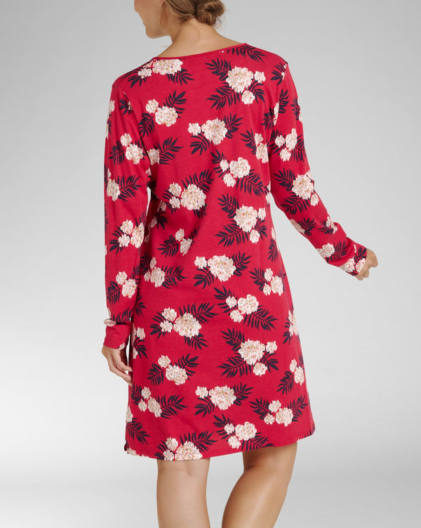 Nightdress long sleeve and V-neck - Fleur Rouge