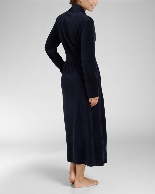Bathrobe lang - Soft Velours Navy