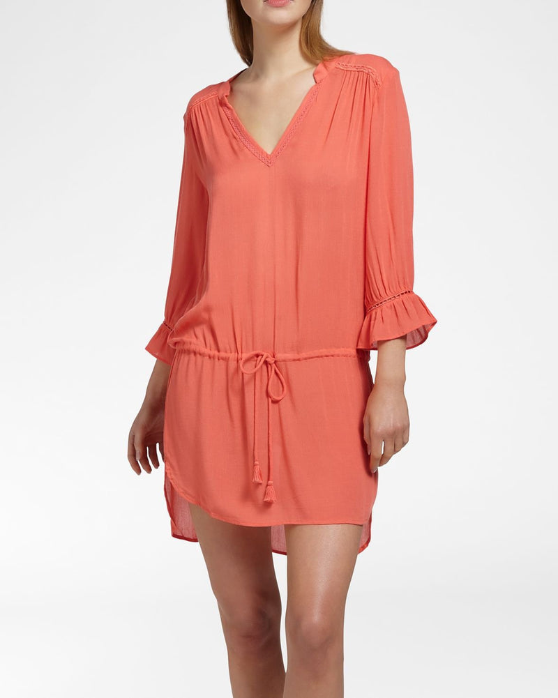 BEACH VIBES Coral - Dress 3/4 sleeve