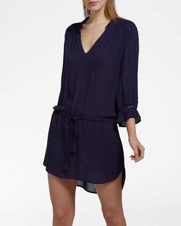 BEACH VIBES NAVY - Dress 3/4 sleeve