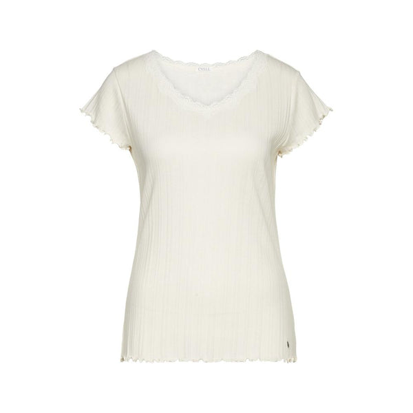 FANTASY RIB Ivory - Ribbed top with short sleeves