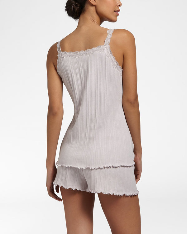 FANTASY RIB Pearl Grey - Ribbed straptop