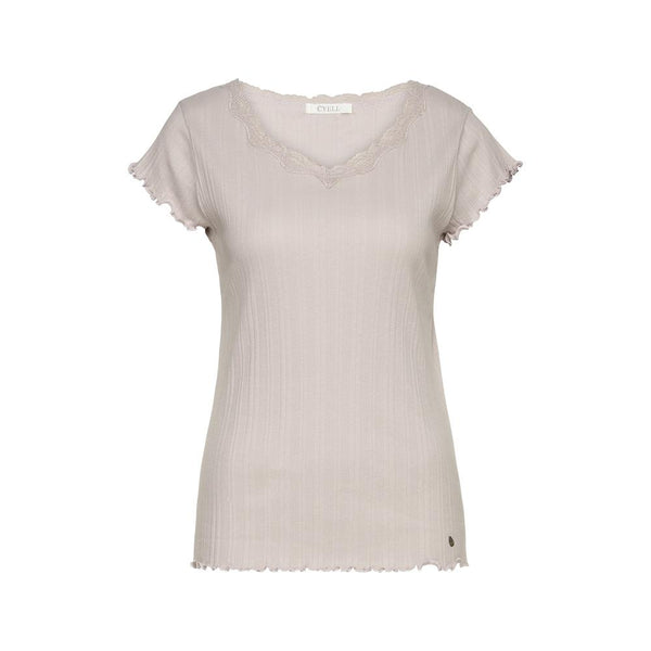FANTASY RIB Pearl Grey - Ribbed top with short sleeves