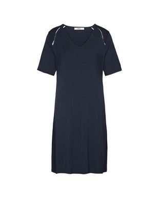LUXURY ESSENTIALS Ink Blue - Nightdress with short sleeves