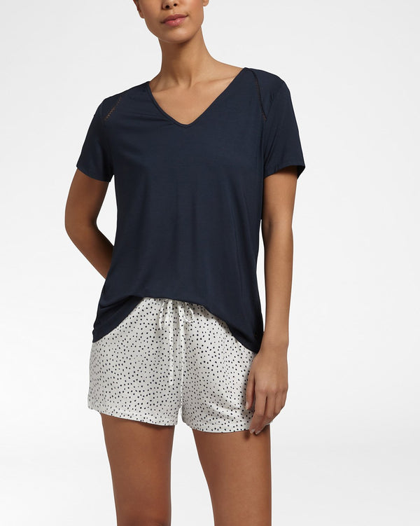 Luxury Essentials Ink Blue Top Met Korte Mouwen
