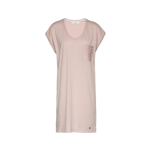 PINSTRIPE Salmon - Nightdress with short sleeves