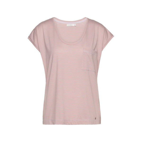 PINSTRIPE Salmon - Top with short sleeves