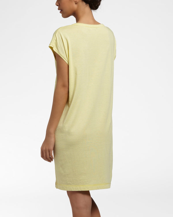 PINSTRIPE Yellow - Nightdress with short sleeves